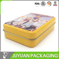 colored tin, Playing cards custom design tin box with hinged lid and