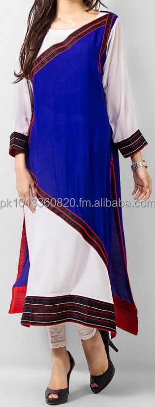 White, Blue & Black Butter Lawn Rectangular Kurta