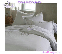 cheap Nantong factory 200TC plain percale hotel bed linens with embroidered logo for hotels, motels, clubs