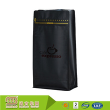 Food Grade Packaging Custom Own Design Flat Bottom Zipper Top 8oz Coffee Pouch Black