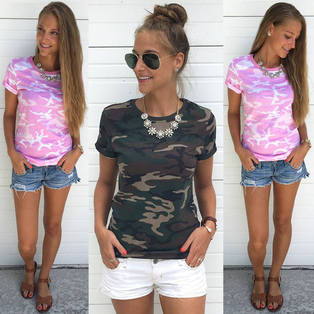2017wish fast selling , women's foreign trade dress camouflage short sleeved T-shirt loose jacket