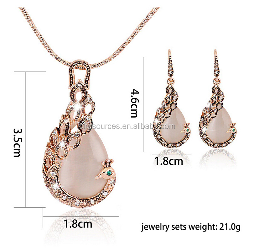 2016 wholesale peacock design opal crystal necklace earring set jewelry set