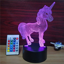 Cartoon Cute Unicorn Acrylic LED Lamp 3D Baby Night Light Sleeping Lighting with 24keys remote rgb controller