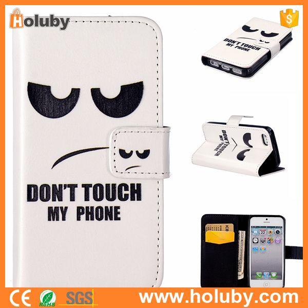 For iPhone SE 5 5s Leather Case, Don't Touch My Phone Leather Coated PC Hard Back Case Cover for iPhone SE 5 5s