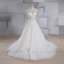 2017 A-line Bling Beaded Alibaba Sexy Wedding Dress Bridal Gown