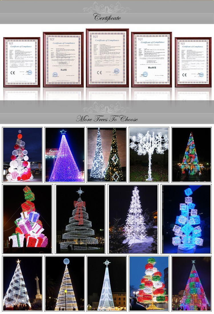 Outdoor lighted giant christmas spiral trees with top star