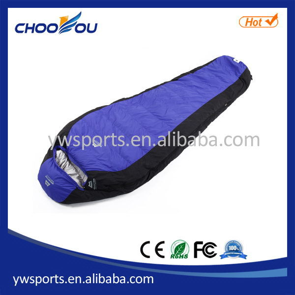 Low price hot selling 90% duck down mummy sleeping bag