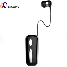 Mic Retractable Cord Multipoint Connection Business Clip-on Wireless Headset Earphone