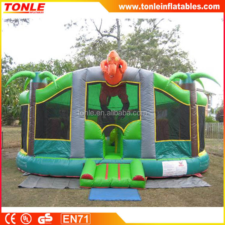 most popular T-Rex dinosaur inflatable bouncy castle slide combo/inflatable jumper with slide for kids