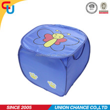 Blue color promotional kids pop up laundry hamper with bee printing