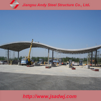 Fabricated Metal Frame Steel Structure Truss Roof for Toll Station