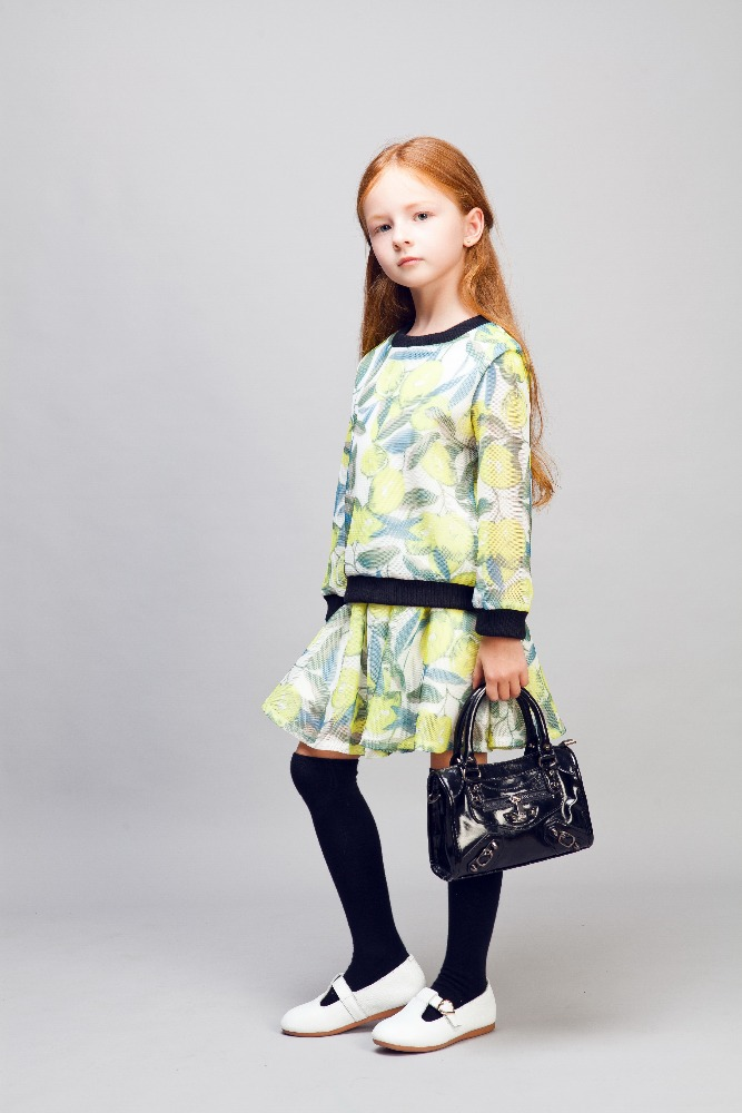 cool kid zone fashion girl dress set printed design dress ribbed buttom sleeve skirt slim fit bady girl dress
