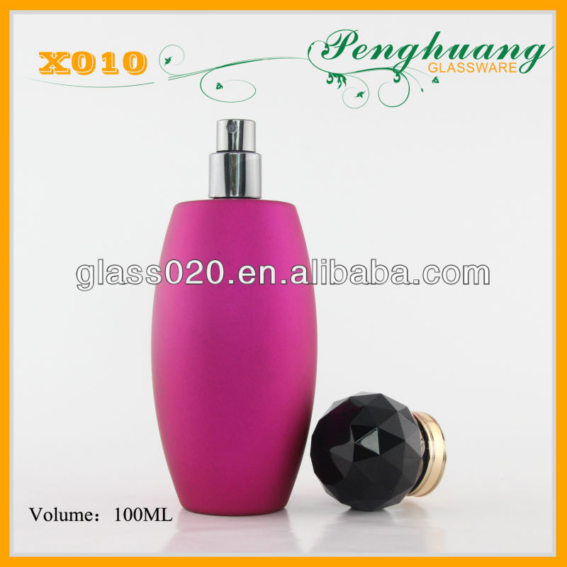 Pink coated clear glass bottle 100ml perfume