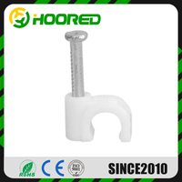 PLASTIC ROUND WHITE CABLE CLIPS WITH FIXING NAILS 3MM - 40MM CABLE CLIP