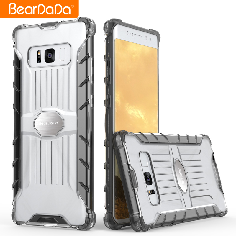 Hybrid 2 in 1 clear back cover case for samsung galaxy note 8