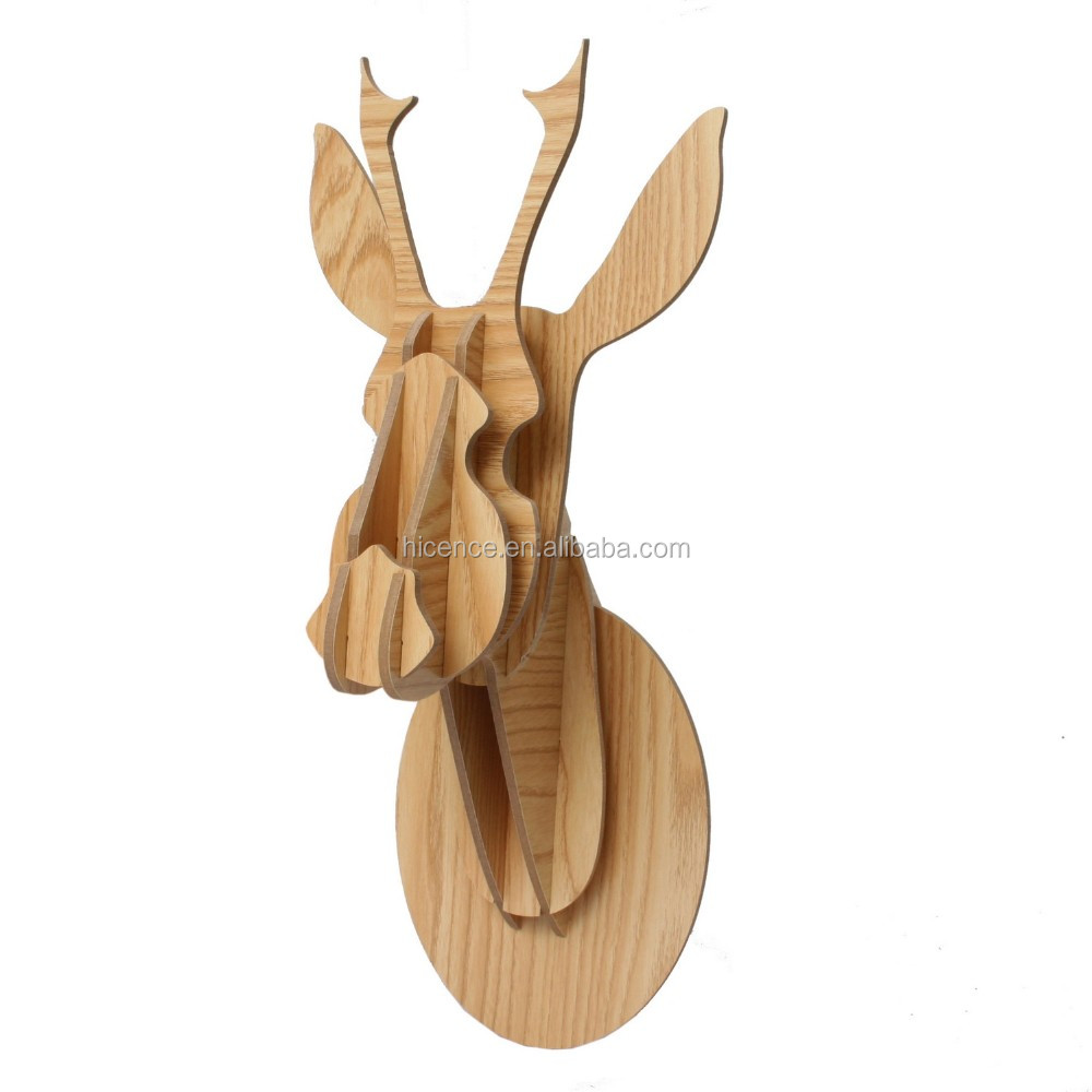 Horse head wall-mounted wood animal head avatar for home decoration