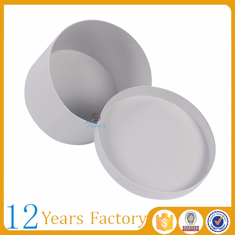 custom packing plain white flower round gift boxes