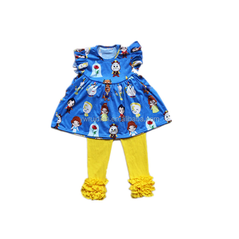 wholesale clothes turkey baby girls princess pattern flutter pearl dress and icing ruffle pants kids Fairy Tales clothes set