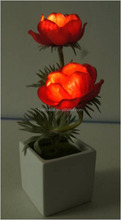 Beautiful small poppy LED flower for wedding with ceramic pot