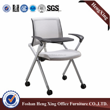 Office rolling mesh training foldable chair & folding chair , with writing table HX-CM036