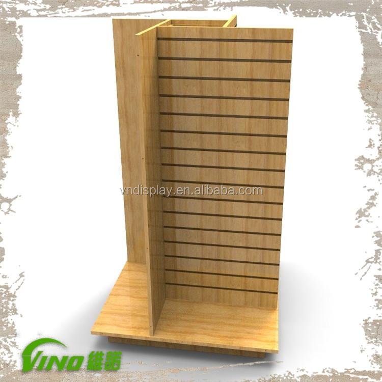 Custom slatwall Freestanding Apparel Wooden Display Rack Gondola, 4 ways panel decorative MDF pedestal garment display stand