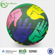 Size 7 colorful printing promotion rubber basketball from Shanghai Zhensheng factory