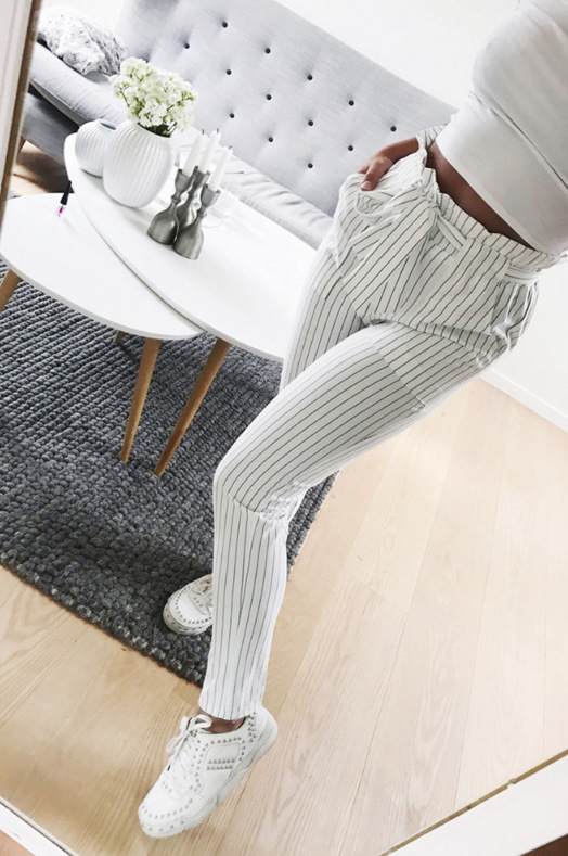 Women Pencil Pants New Style Slim Stripe Nine-Cent Pants with Belt