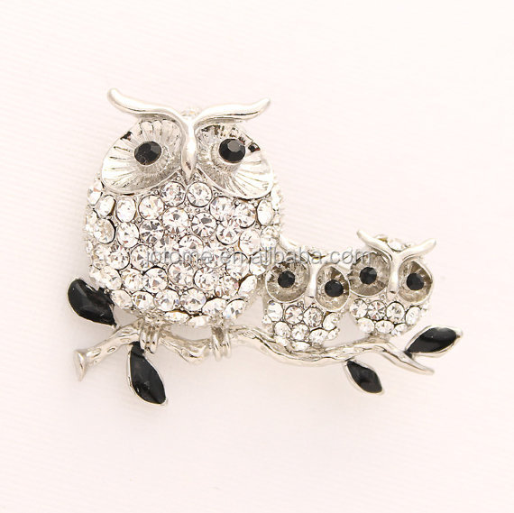 "<strong>1</strong> 3/4""<strong>W</strong> x <strong>1</strong> <strong>1</strong>/2""H inches Crystal Silver Black Owl Brooch Owl Family Jewelry"