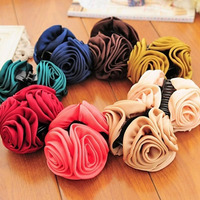 Rose Flowers Black Plastic Teeth Hair Claw Clips Exquisite Elegant Headwear For Women Hair Accessories