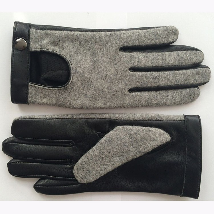 Lady / women wool and leather gloves motorcycle driving gloves