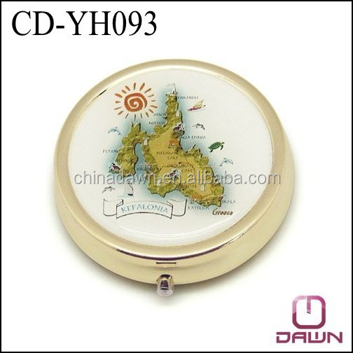 Printed Metal gold pill box with mirror CD-YH093