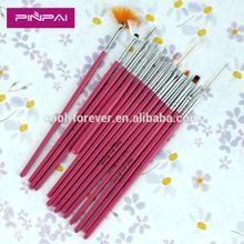 Professional 15pcs nail polish brush pink color acrylic nail art brush set