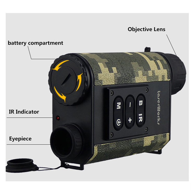 Rugged Body Multi-function 6X Magnification Gen 1 Night Vision IR with Laser Rangefinder 500 meter