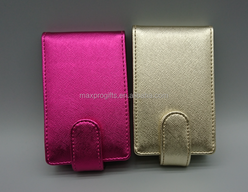 Popular customized multi colors pu leather lips gloss pouch, mirror inside lipsgloss bag