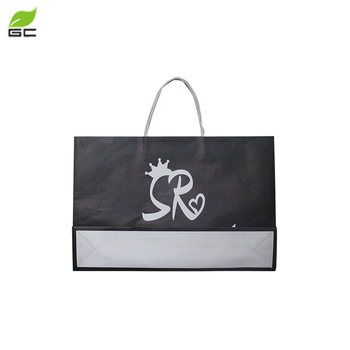 2018China Manufacturer Wholesale Custom Grocery Shopping black  Paper Bag With  Twisted handle