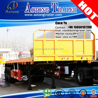 Truck and trailer dimensions Purchase Tri axle flatbed 40ft Container Semi Trailer With Front Fence