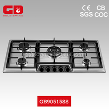 Good Quality 5 Burner Gas Fired Burners China/ Cast Iron Selected Stoves/ CE Housing 304 Stainless Steel Gas Cooker