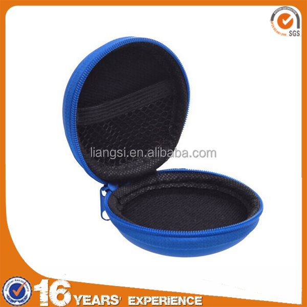 Blue PU leather Earphone handsfree headset HARD EVA Case Clamshell/MESH Style with Zipper Enclosure