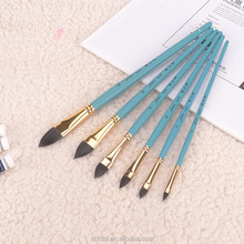 Professional high quality blue wood handle flat-pointed or filbert-pointed shape sable hair artist brush 6 pcs