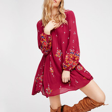 Ladies western dress designs summer style embroidered long sleeve boho dress