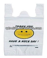 Eco friendly customized logo print t-shirt vest thank you smile face bag for supermarket/grocery