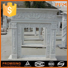 Natural Stone of cheap white decorative arched fireplace mantel with cherub
