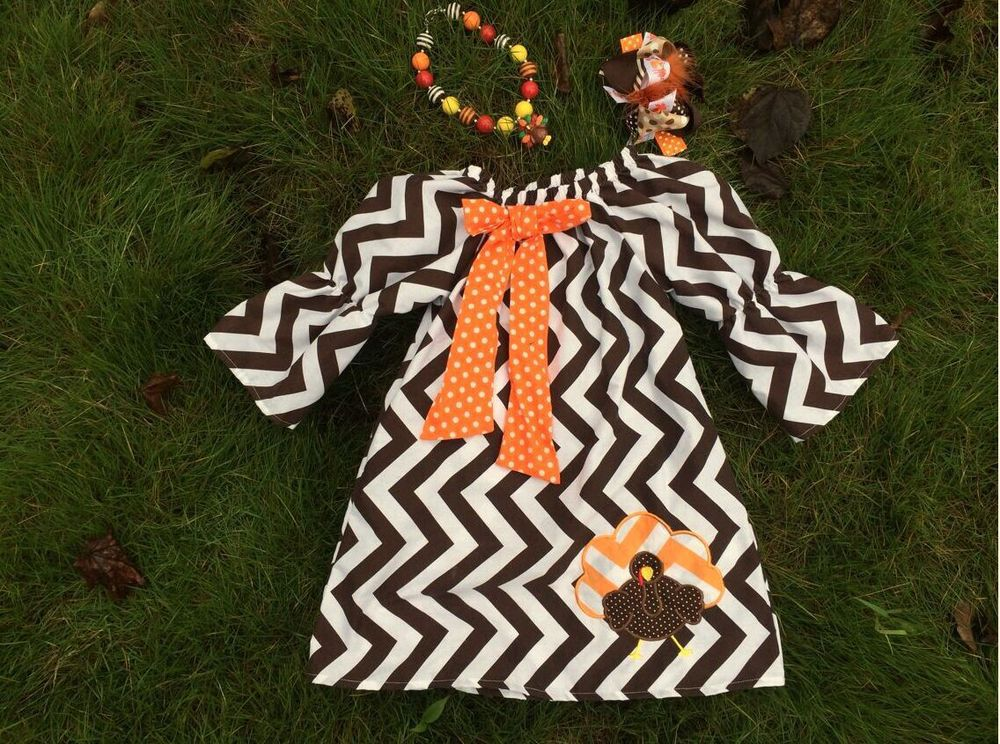 baby girls thanksgiving dress chevron turkey dress baby girls boutique dress smocking children dress Yiwu Mommyhome Garment