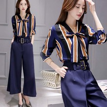 WA5157 Korean women striped shirt wide leg pants suit summer clothes for woman