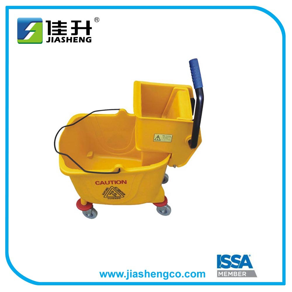 Side Press Mop Cleaning Bucket with Wringer 25 & 32 Quart/9 Gallon Capacity, Yellow