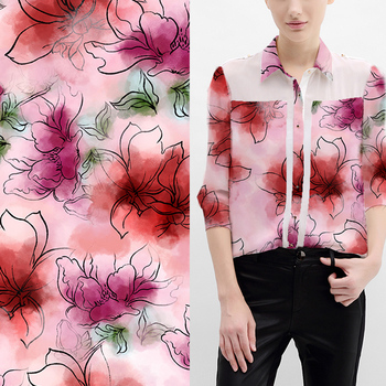 Breathable custom fabric printing shirting flower digital printed fabric