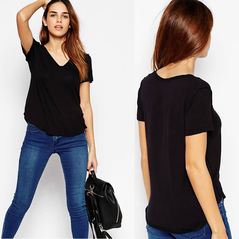 Juhai 6619 wholesale 2015 new products ladies clothes direct factory OEM blank t-shirt