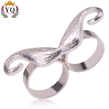 RYQ-00294 new design two circle Beard shape silver zinc alloy ladies finger Korea ring