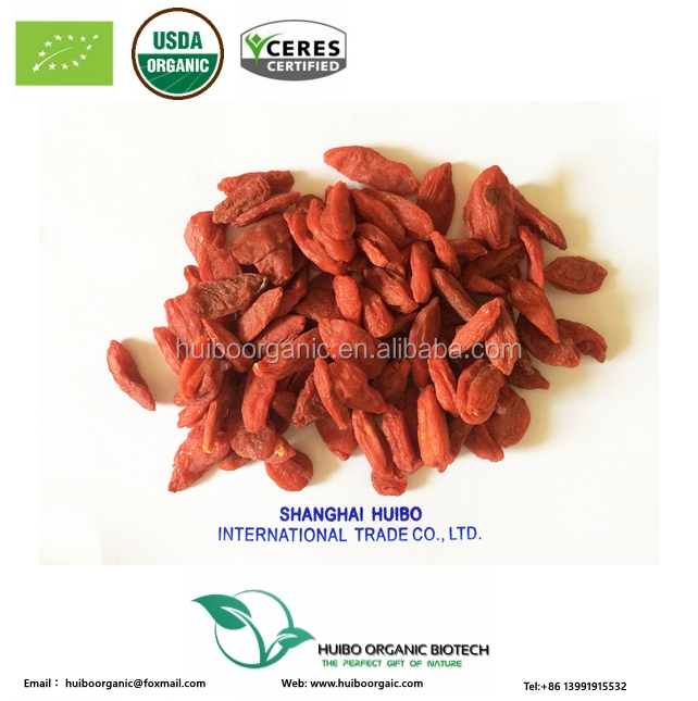 Certified organic organic dried goji berries 2017 bulk wholesale