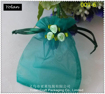 Hot sale ! agate green organza bags with cute flowers , can be mix color order